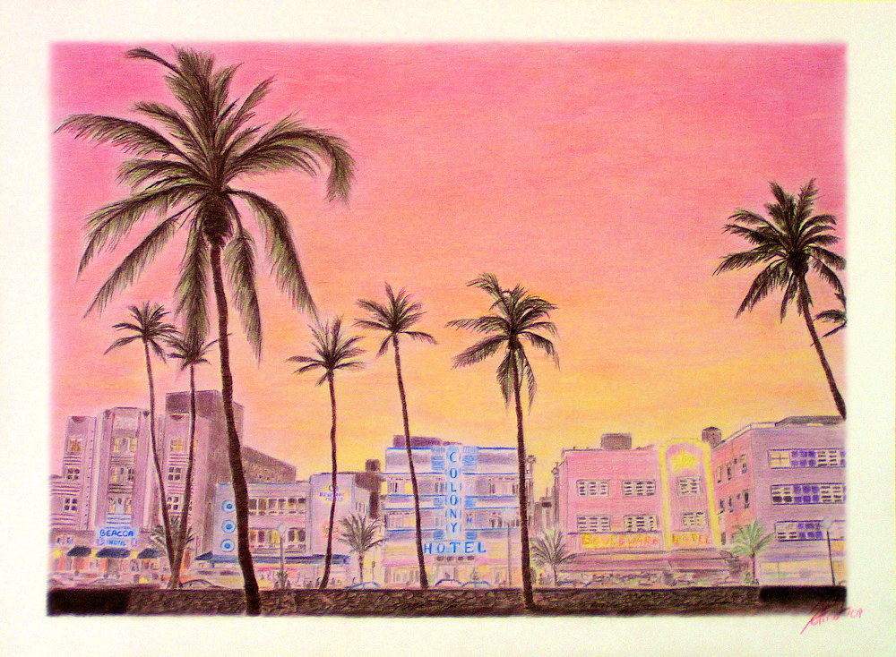 Miami South Beach, Colored Pencil Drawing
