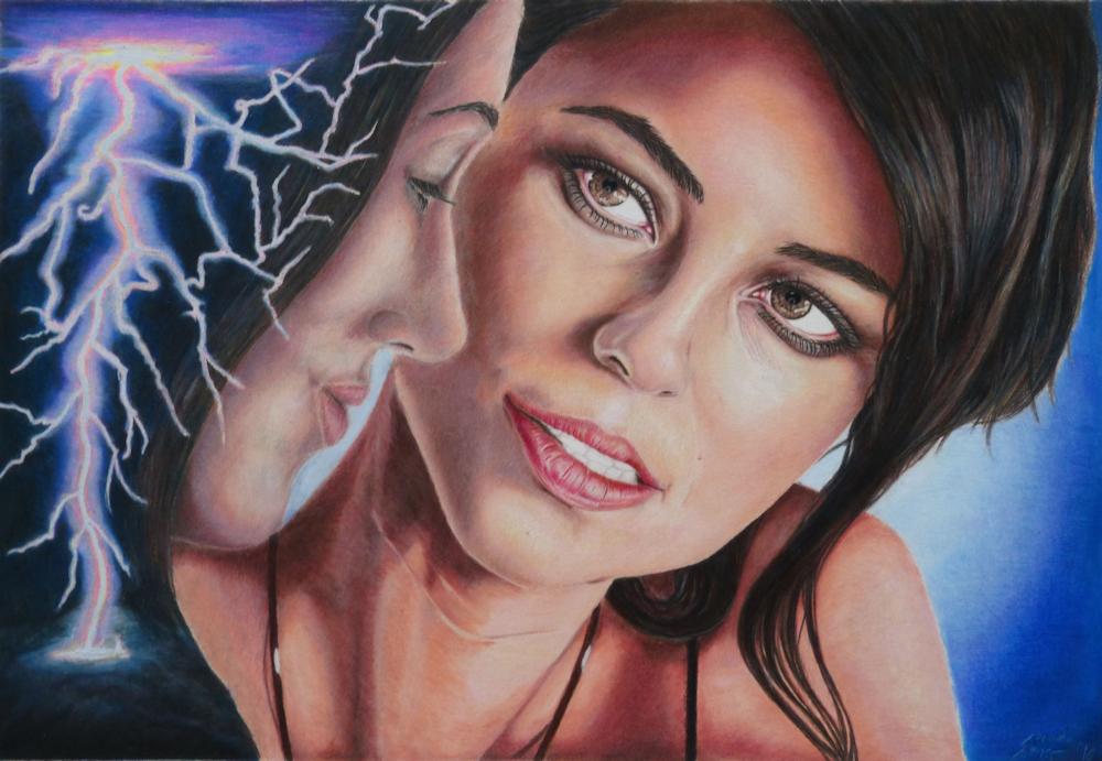 Lightning Strikes, Colored Pencil Drawing, Farbstiftzeichnung