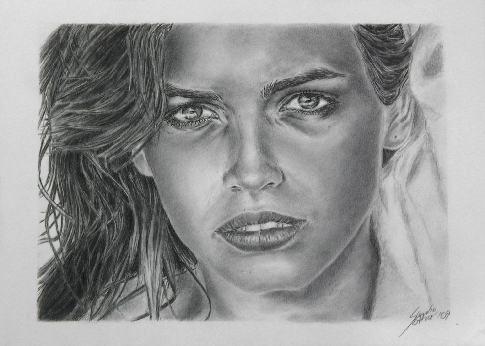 Gia Carangi portrait drawing, Porträtzeichnung