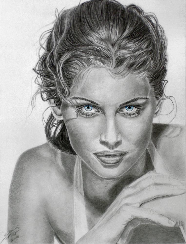 Laetitia Casta Portrait Drawing, Porträtzeichnung
