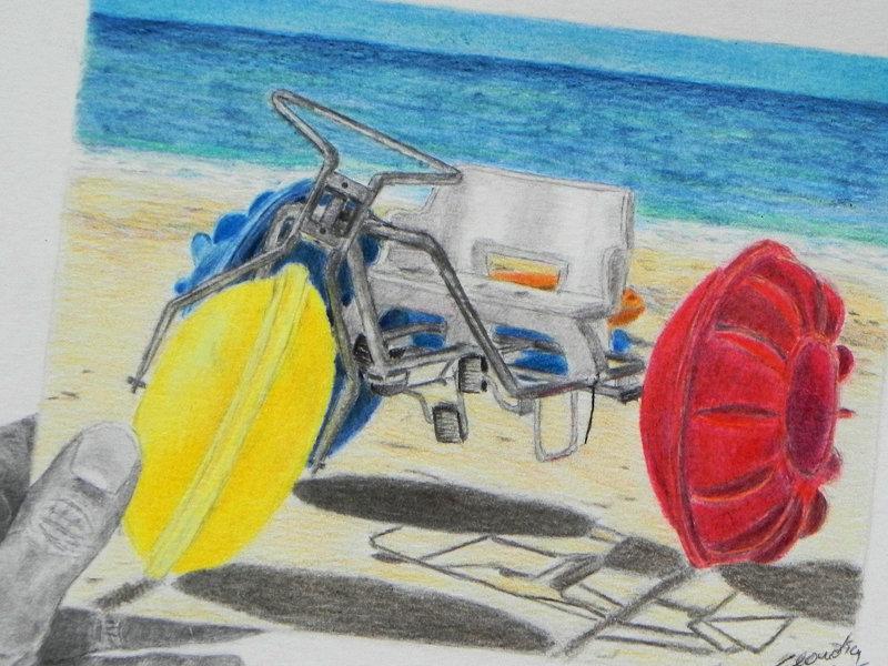 Postcard Colored Pencil Drawing, Farbstiftzeichnung