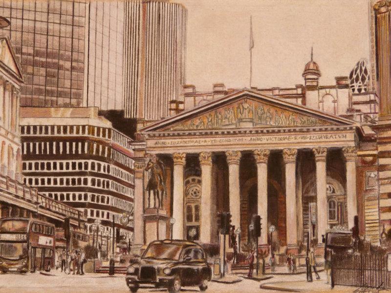 Postcard Drawing, Farbstiftzeichnung