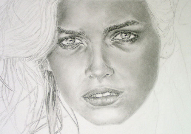 Realistic portrait drawing, work in progress