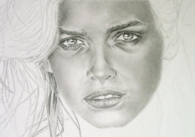 realistische Porträtzeichnung, work in progress