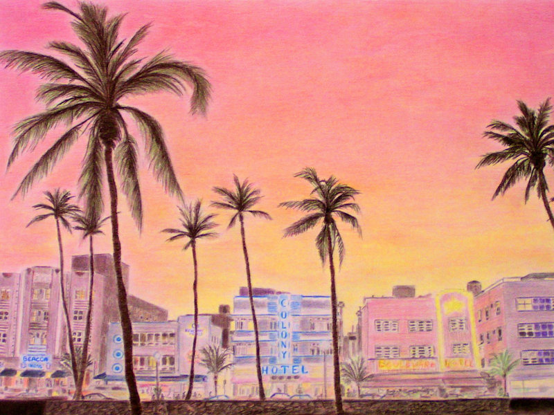 Miami South Beach, Colored Pencil Drawing, Farbstiftzeichnung