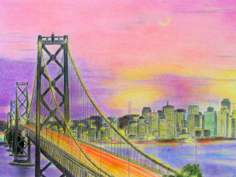 San Francisco Skyline, Colored Pencil Drawing, Farbstiftzeichnung