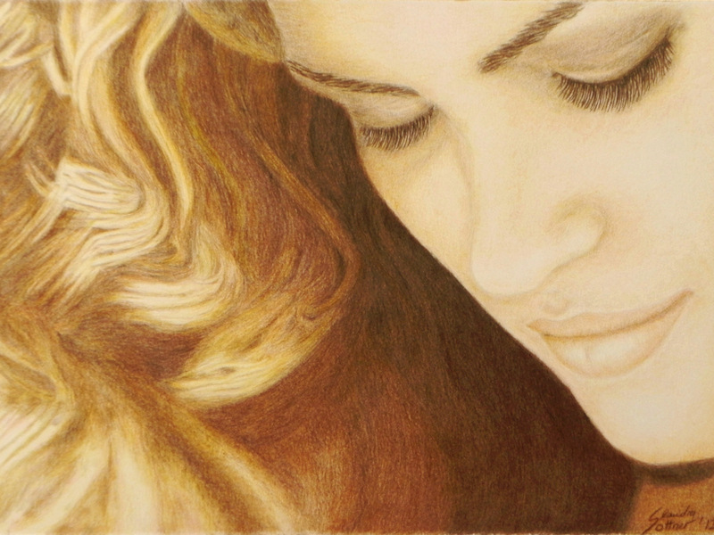 Gia Carangi, Colored Pencil Portrait, Farbstiftzeichnung