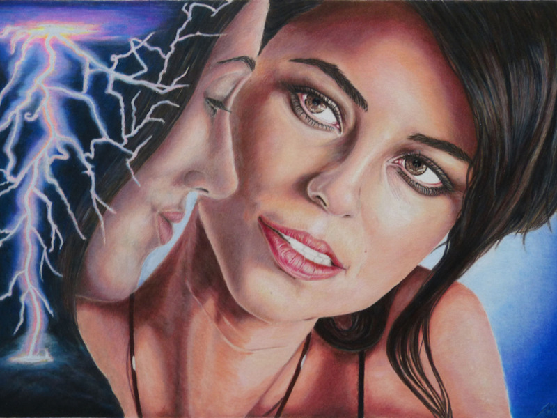 Lightning Strikes, Colored Pencil Drawing, Farbstiftzeichnung