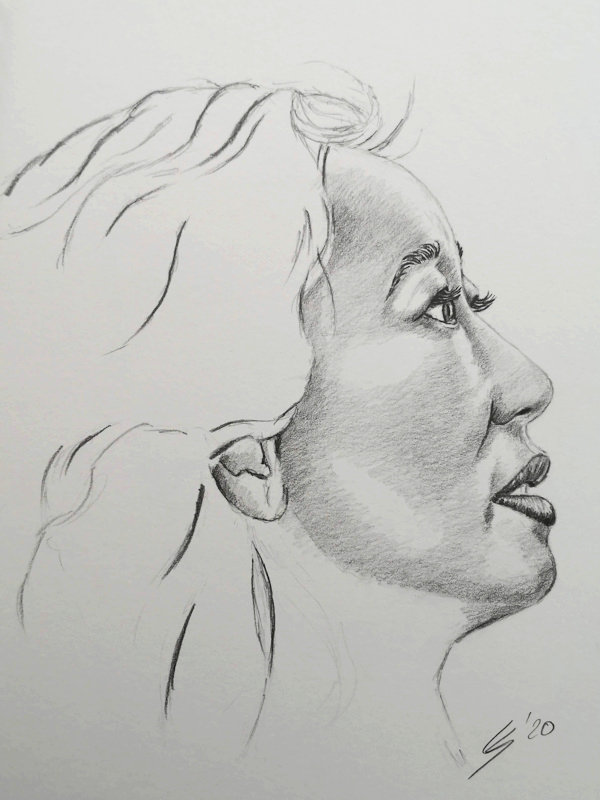 Face drawing from side