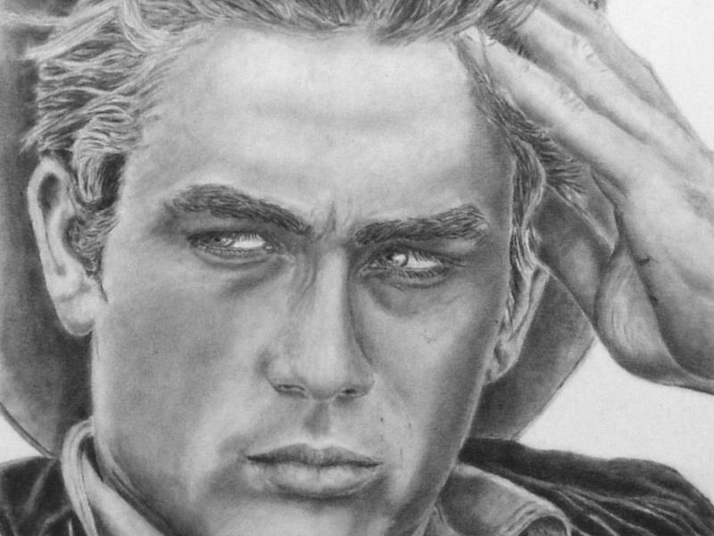 James Dean Portrait drawing, Porträtzeichnung