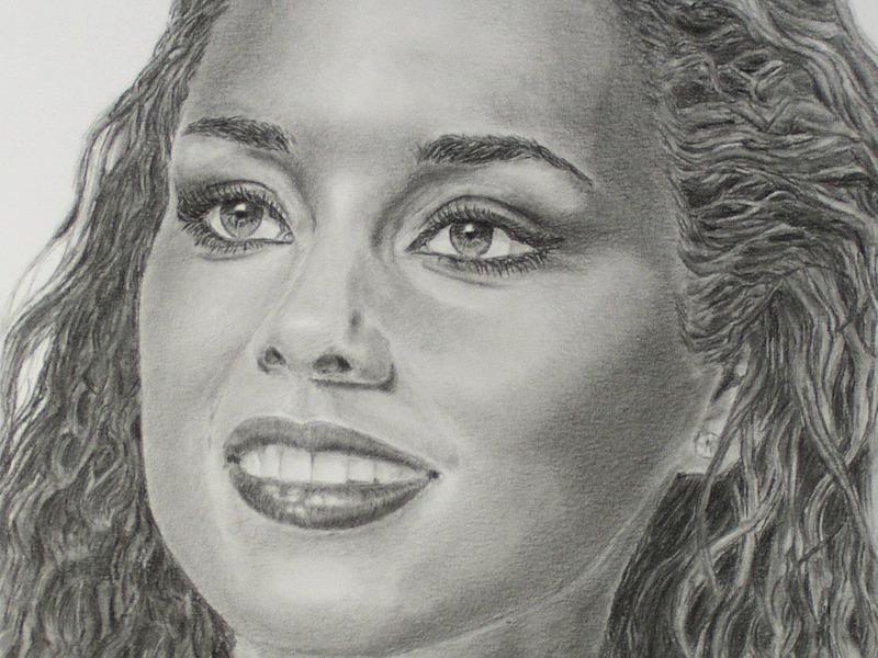 Alicia Keys realistic portrait drawing, Porträtzeichnung
