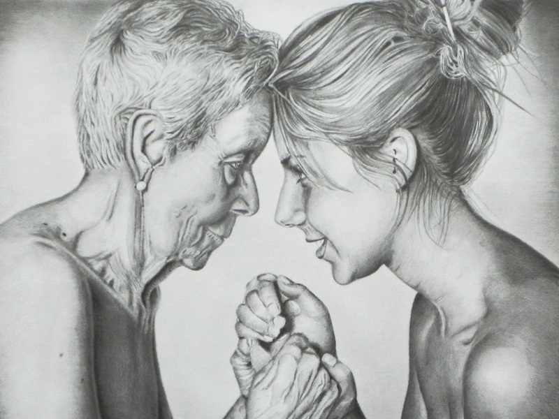 Old and Young, Realistic Pencil Drawing, realistische Bleistiftzeichnung