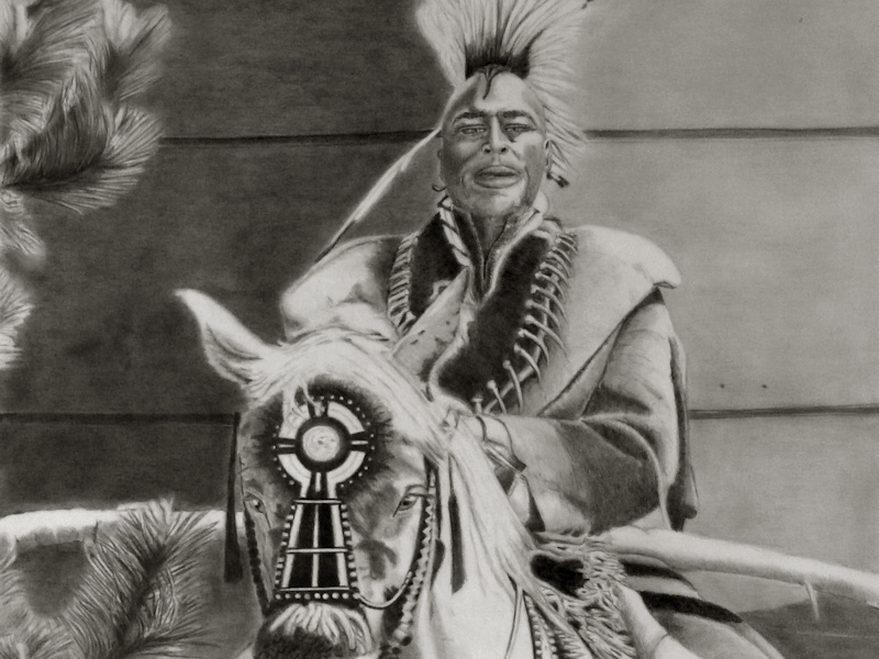 realistic drawing of a native american, Sioux Indianer Bleistiftzeichnung