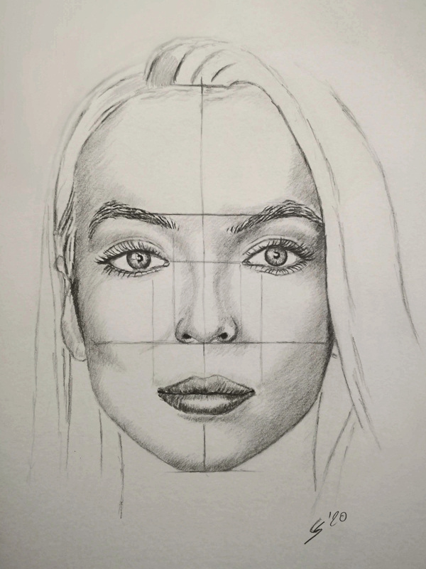 Skizze eines sehr symmetrischen Gesichts. Zeichnung um Gesichtsproportionen zu erkennen.