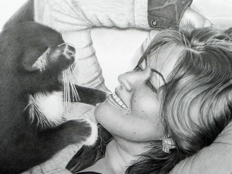 Zeinab und Streuner, Pencil Drawing, Bleistiftzeichnung