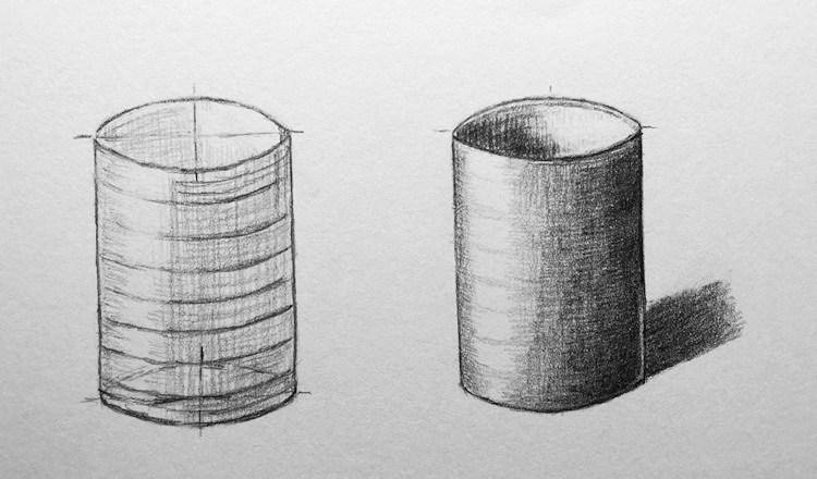 Becher / Zylinder dreidimensional zeichnen