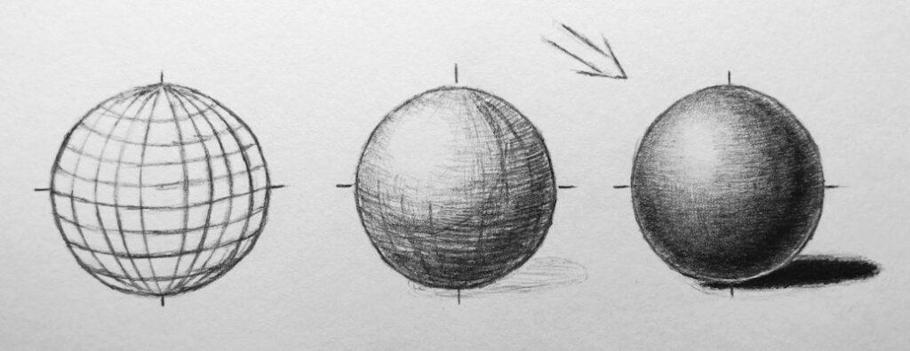 3d Kugel zeichen mit Bleistift